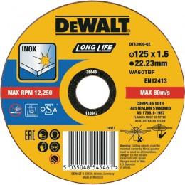 Круг отрезной DeWALT Long Life INOX 125х1.6х22.23 мм по нержавеющей стали (DT43906)