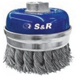 Щетка чашечная прямая S&R, нержавеющая плетенная проволока 80, , 413.00 грн, Щетка чашечная прямая S&R, нержавеющая плетенная проволока 80, S&R Power, Щетки проволочные