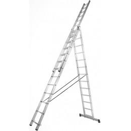 Алюминиевая трехсекционная усиленная лестница Stark 3*12 SVHR3x12pro (525312510)
