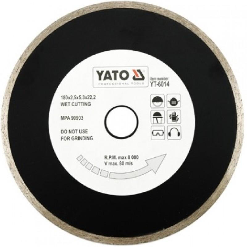 Диск алмазный YATO сплошной 180x5,3x22,2 мм для мокрой резки (YT-6014) 270.00 грн