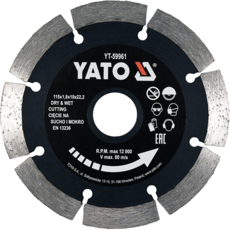 Диск отрезной Yato 115x1.8x10x22.2 мм (YT-59961)