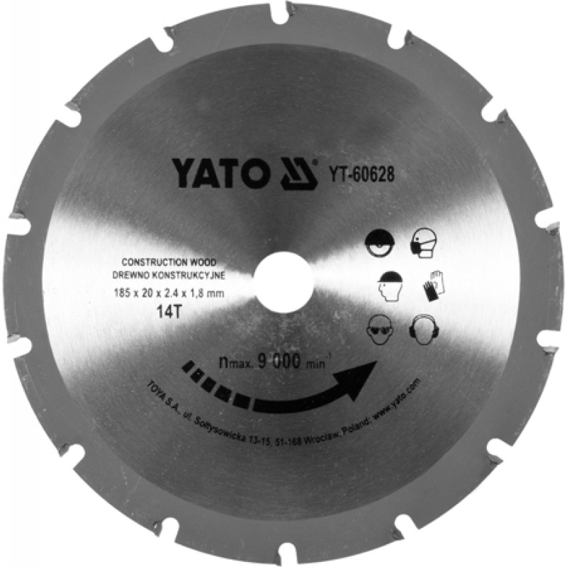 Диск пильный Yato 185х2.4x20 мм, 14 зубьев (YT-60628)