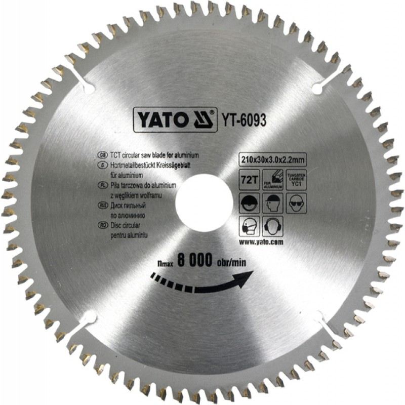 Диск пильный YATO по алюминию 210х30х3.0x2.2 мм, 72 зубца (YT-6093)