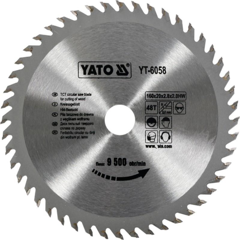 Диск пильный YATO по дереву 160x20x2.8x2.0 мм, 48 зубцов (YT-6058)