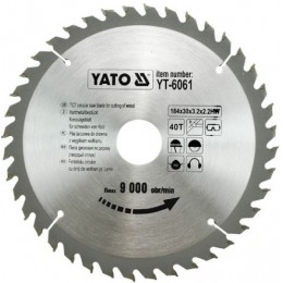 Диск пильный YATO по дереву 184х30х3.2х2.2 мм, 40 зубцов (YT-6061), , 265.00 грн, Диск пильный YATO по дереву 184х30х3.2х2.2 мм, 40 зубцов (YT-606, Yato, Диски пильные