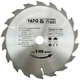 Диск пильный YATO по дереву 185х20х2.4х1.4 мм, 18 зубцов (YT-6063), , 181.00 грн, Диск пильный YATO по дереву 185х20х2.4х1.4 мм, 18 зубцов (YT-606, Yato, Диски пильные