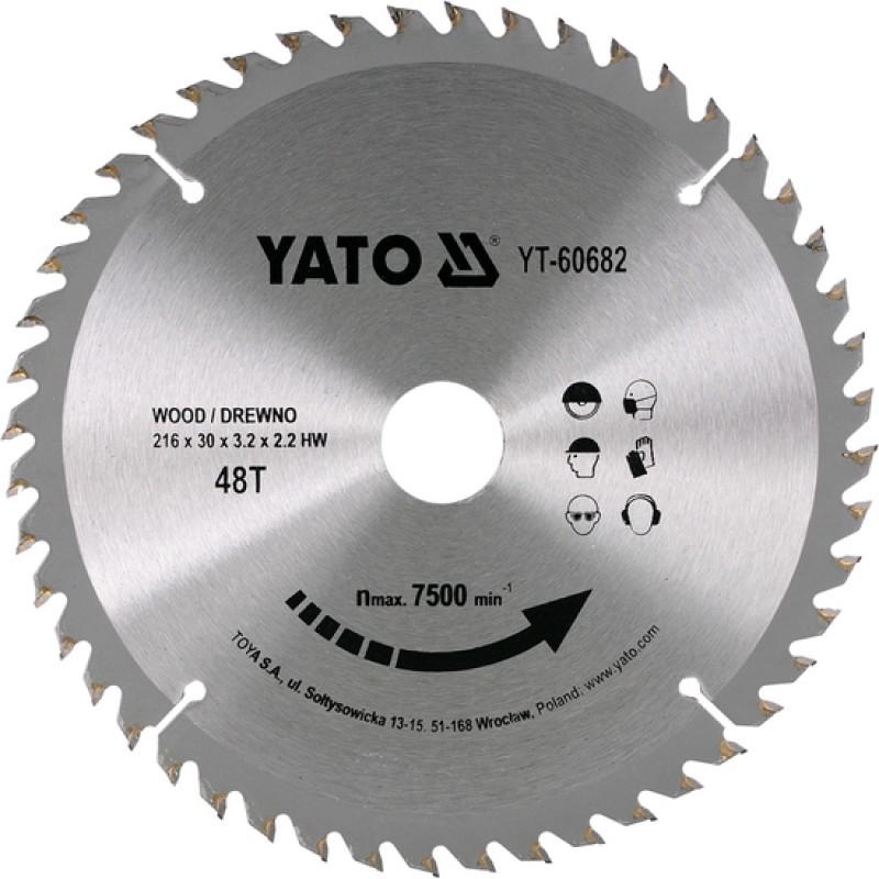 Диск пильный YATO по дереву 216х30х3.2х2.2 мм, 40 зубцов (YT-60682)