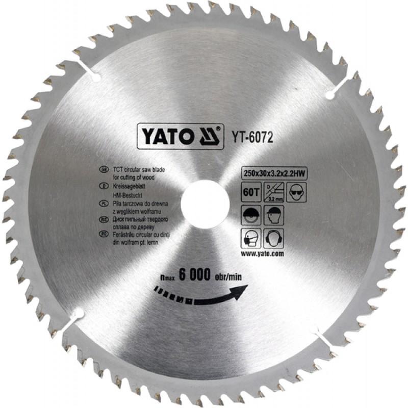 Диск пильный YATO по дереву 250х30х3.2х2.2 мм, 60 зубцов (YT-6072) 481.00 грн