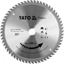 Диск пильный по дереву с победитовыми напайками Yato YT-60636 (190x20x2.2x1.5 мм), 60 зубцов, , 291.00 грн, Диск пильный по дереву с победитовыми напайками Yato YT-60636 (1, Yato, Диски пильные