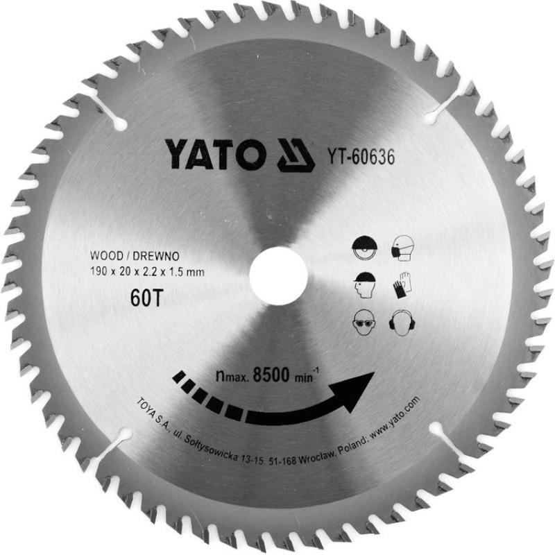 Диск пильный по дереву с победитовыми напайками Yato YT-60636 (190x20x2.2x1.5 мм), 60 зубцов 375.00 грн