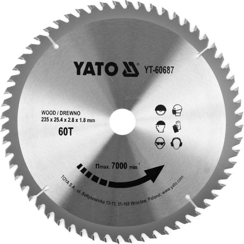 Диск пильный по дереву с победитовыми напайками Yato YT-60687 (235x25.4x2.8x1.8 мм), 60 зубцов
