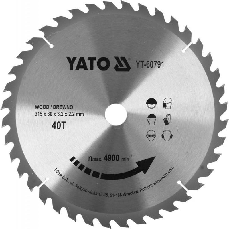 Диск пильный по дереву с победитовыми напайками Yato YT-60791 (315x30x3.2x2.2 мм), 40 зубцов