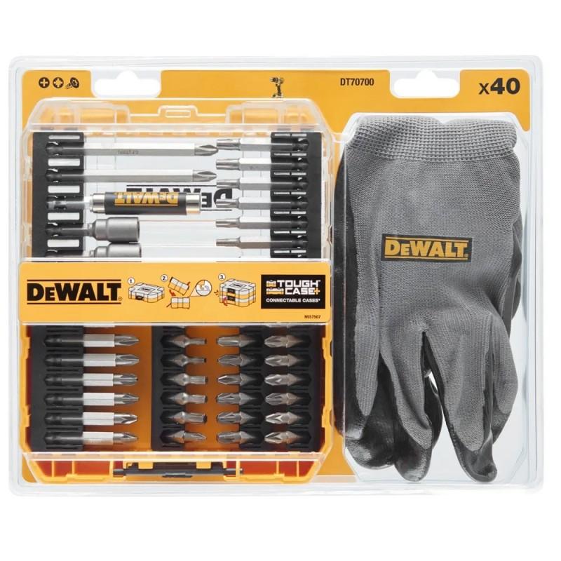Набор бит и насадок DeWALT, Torx, 40 шт, перчатки, кейс (DT70700) 959.00 грн