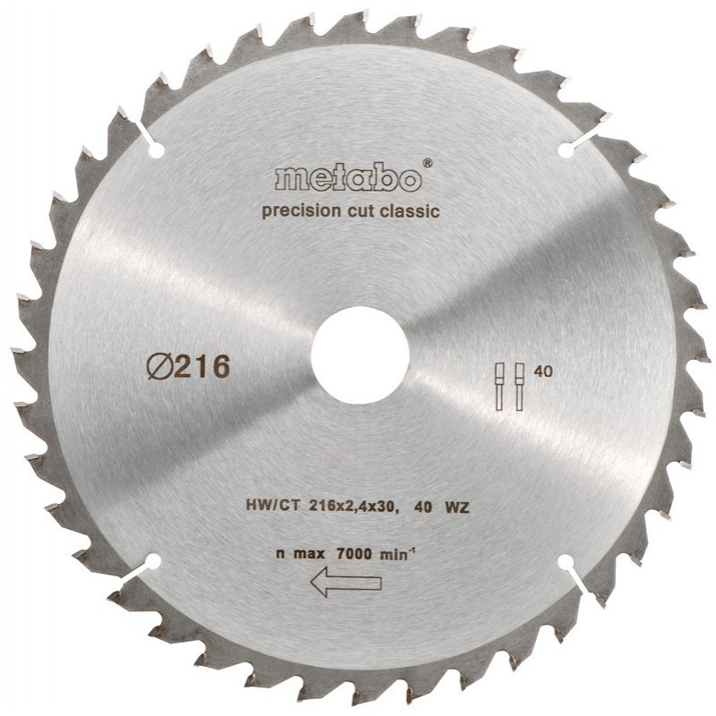Пильный диск Metabo HW/CT 216x30 мм (628060000) 213.00 грн