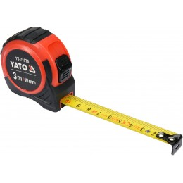 Рулетка Yato (YT-71070) 3 м x 16 мм, стальной лентой, нейлоновым покрытием 85.00 грн