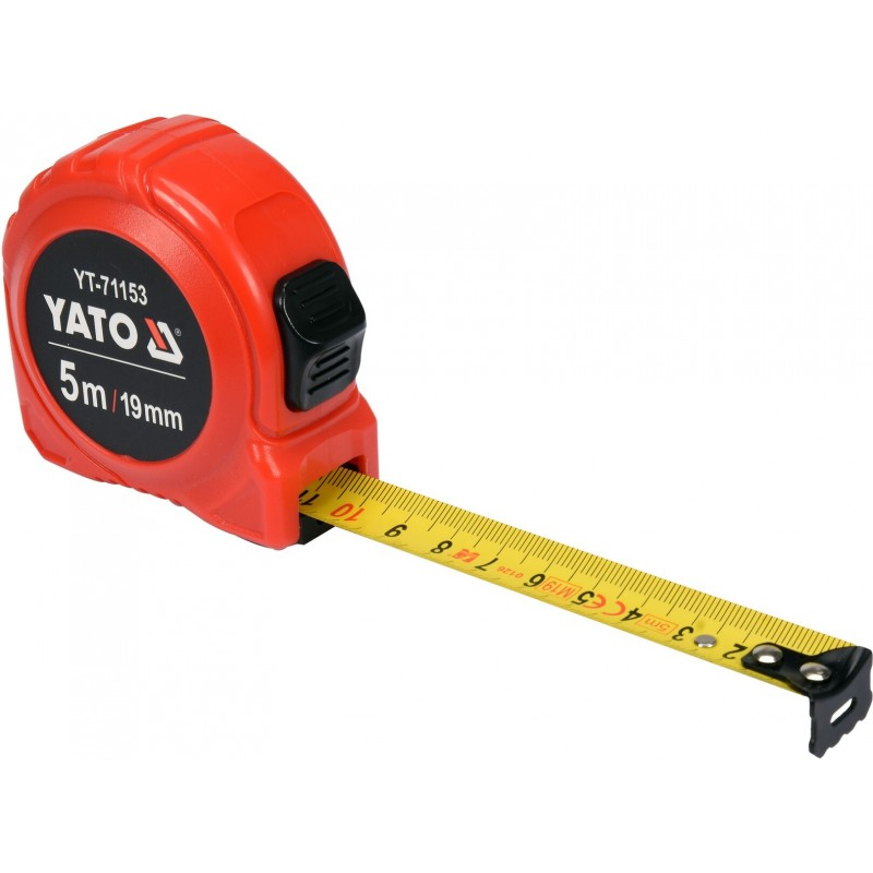 Рулетка Yato (YT-71153) 5 м x 19 мм, стальной лентой, нейлоновым покрытием, двойной блокировкой 68.00 грн
