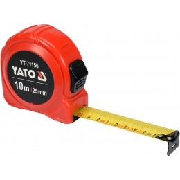 Рулетка Yato (YT-71156) 10 м x 25 мм стальной лентой, нейлоновым покрытием, двойной блокировкой 153.00 грн